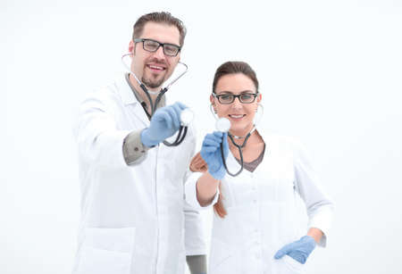 portrait of two successful medical professional with a stethoscope