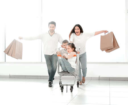close-knit family goes shopping.