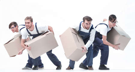 Movers in a hurry to do their job. Standard-Bild - 129817198