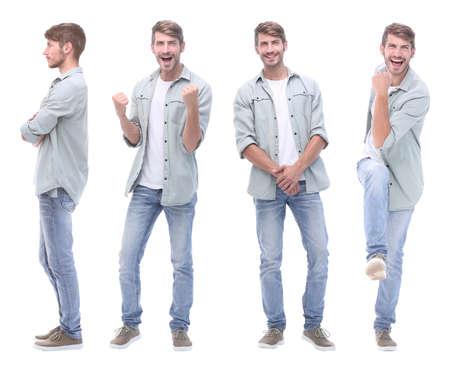 collage arts en jonge man geïsoleerd op wit