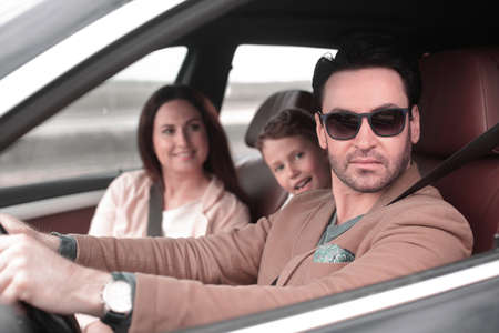 modern family travels by car