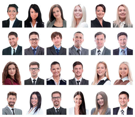collage of portraits of business people isolated on white