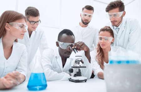 Group of young scientists working in the chemical laboratory