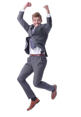 in volle groei. gelukkige zakenman die zijn succes toont Stockfoto