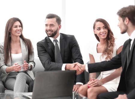 business partners shaking hands during negotiations Reklamní fotografie