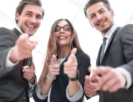 Close up of young people pointing at you Stock Photo