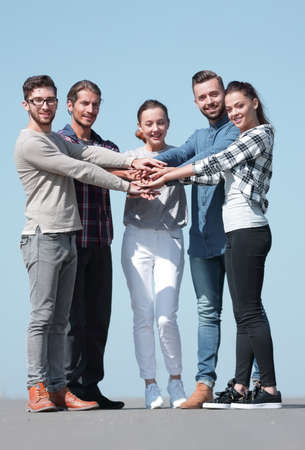 creative young people is clasped their hands together. Stock Photo