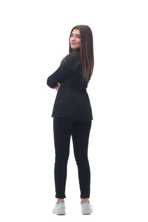 rear view. young business woman looking forward Reklamní fotografie