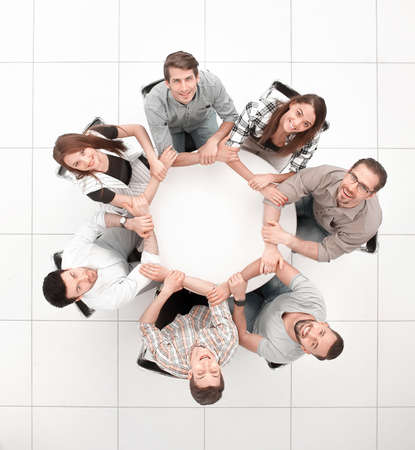 top view.single business team sitting at the round table