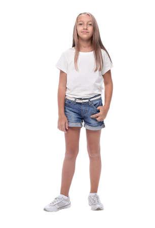 full length .portrait of cute teen girl