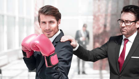lawyer in Boxing gloves and his supervisor Reklamní fotografie