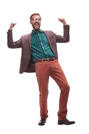 Excited happy man triumphs . isolated on white