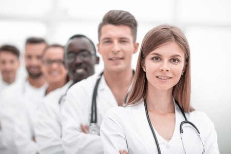 doctors team showing finger in camera