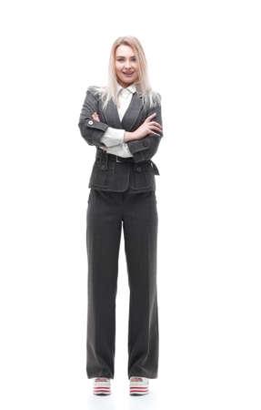 full-length portrait of young business woman Foto de archivo - 130638929