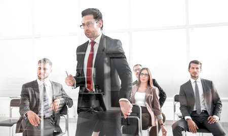 Angry Middle-aged Business Man Pointing at You Stock Photo