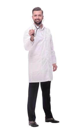 in piena crescita. fiducioso medico terapista con uno stetoscopio Archivio Fotografico