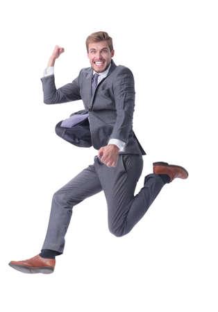 en pleno crecimiento. feliz hombre de negocios mostrando su éxito Foto de archivo