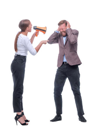 in full growth. young businesswoman shouting through a megaphone. Stock Photo