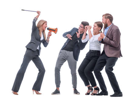 irritated businesswoman shouts loudly at her subordinates. Zdjęcie Seryjne