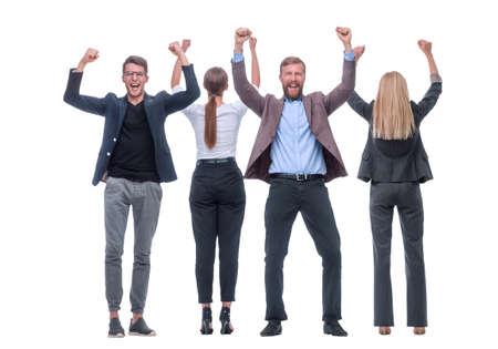 in full growth. happy group of successful business people Zdjęcie Seryjne