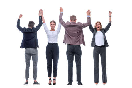 in full growth. successful business team showing their unity Zdjęcie Seryjne