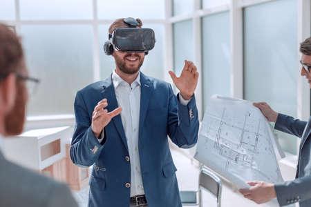 architect using virtual reality glasses in the workplace. Archivio Fotografico - 133163307