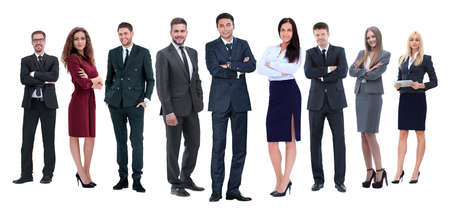 in full growth.professional business team isolated on white Banco de Imagens