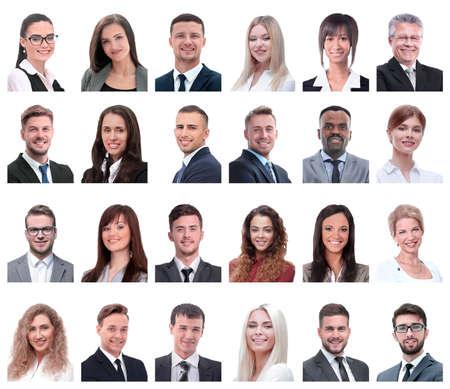 collage van portretten van zakenmensen op wit wordt geïsoleerd Stockfoto