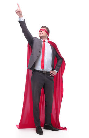 in full growth. superhero businessman pointing the right direction