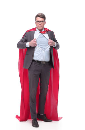 in full growth. screaming businessman in superhero pose Stock Photo