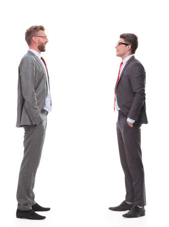 in full growth. two business men looking at each other
