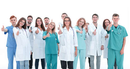 top view. a group of smiling doctors looking at the camera. Reklamní fotografie