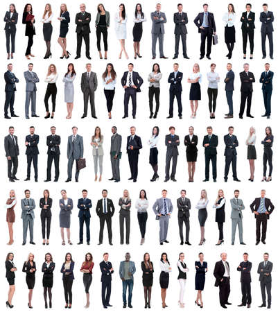 collage de jóvenes empresarios de pie en una fila. aislado sobre fondo blanco.