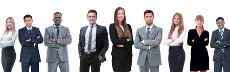 en pleno crecimiento Equipo profesional de negocios aislado sobre fondo blanco.