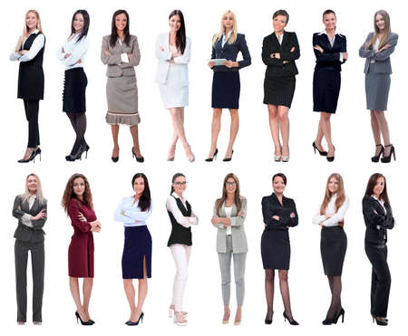 in full growth.collage of a group of successful young business women.