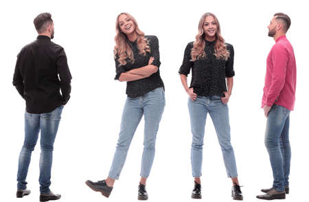 collage of photos of a young man and woman in jeans