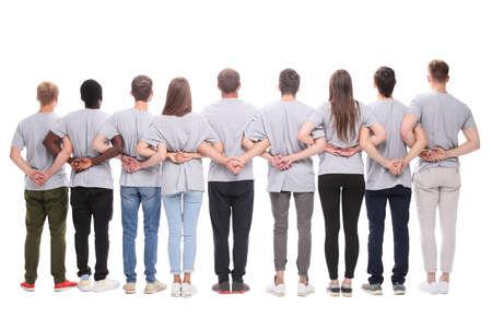 Rückansicht. eine große Gruppe motivierter junger Menschen.