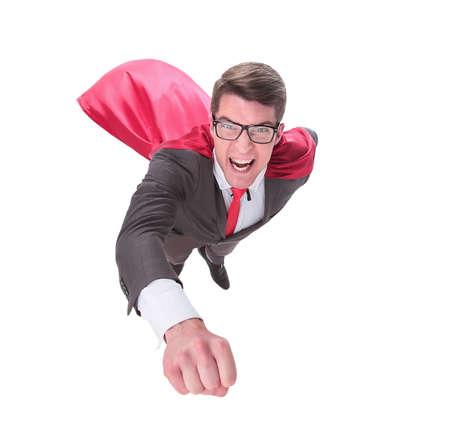 confident superhero businessman is flying to you Archivio Fotografico