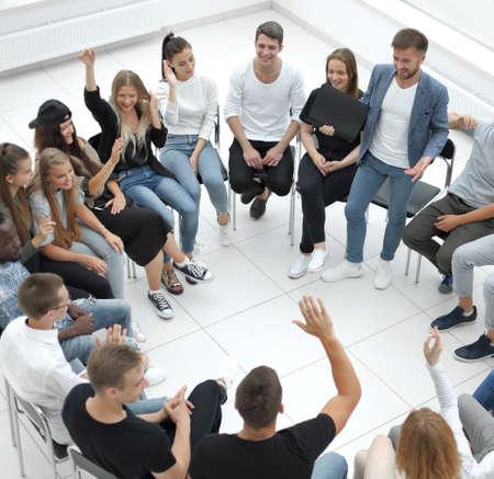 participants ask questions during the business seminar Standard-Bild