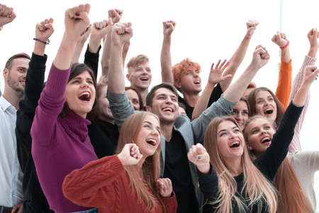 group of jubilant young people looking forward