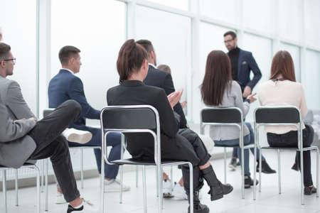 business team listening to the speaker in the conference room Reklamní fotografie