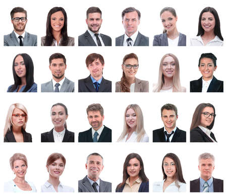 collage of portraits of business people isolated on white Stockfoto