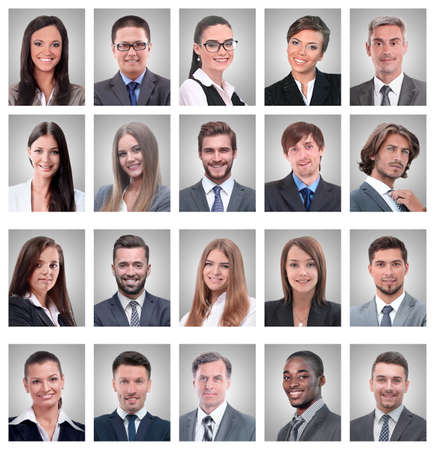 collage of portraits of young businessmen and businesswoman Foto de archivo