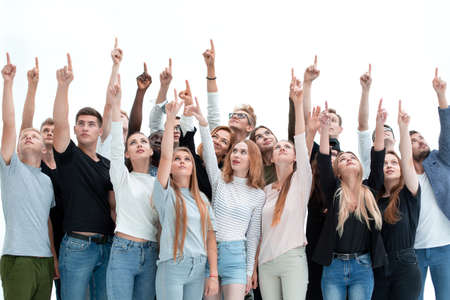 group of serious young people where pointing up