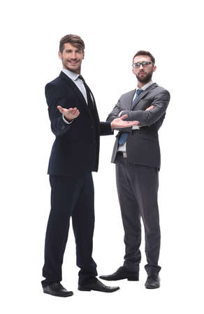 in full growth. two businessmen standing together Stock Photo