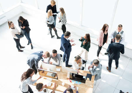 top view. business team operates in a modern office