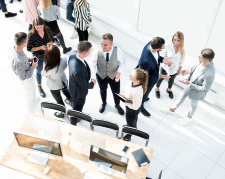 top view. group of employees in a modern office