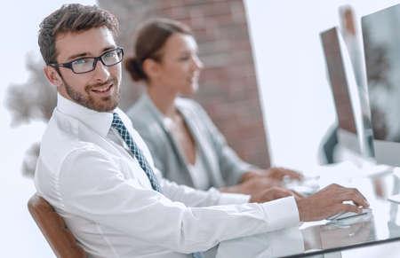 businessman on blurred background office