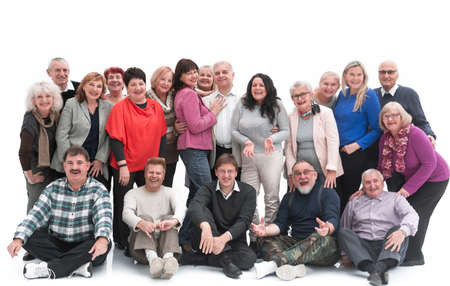 Group of happy elderly people standing and sitting isolated over a white background Imagens