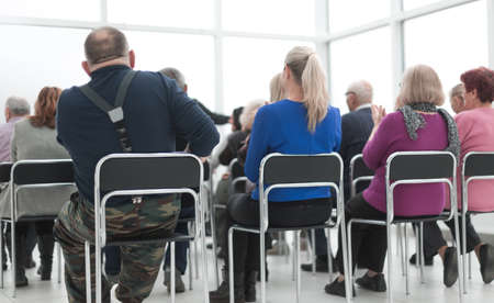 Audience of adult people listen to the speech of the lecturer Stock fotó